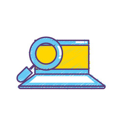 computer with magnifying glass to search vector image