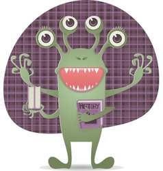 Happy monster with book vector image vector image