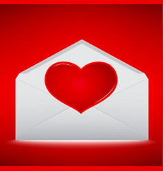 red heart on envelope with red background vector image