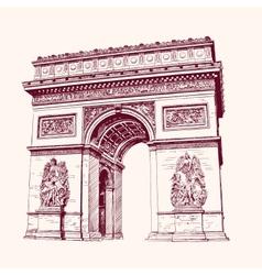 Arch of Triumph Paris hand drawn vector image