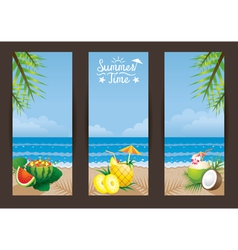 Coconut pineapple watermelon cocktail backdrop vector
