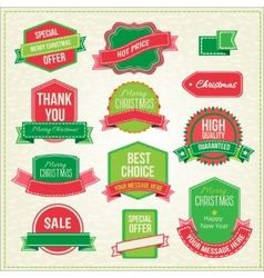 Collection of christmas ornaments and decorative vector image