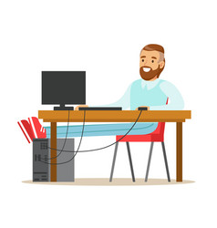smiling bearded man working on a computer at his vector image vector image