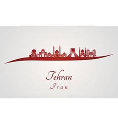 Tehran skyline in red vector image vector image
