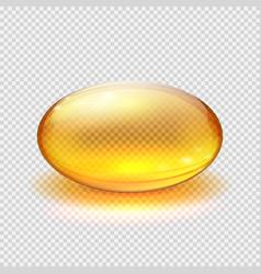 transparent yellow capsule of drug vitamin or vector image