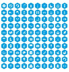 100 ball icons set blue vector