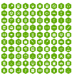 100 college icons hexagon green vector
