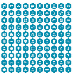 100 different professions icons sapphirine violet vector