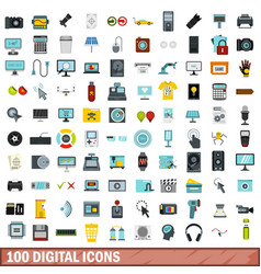 100 digital icons set flat style vector