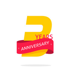3 years anniversary logo template isolated on vector