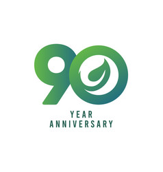 90 years anniversary leaf template design vector