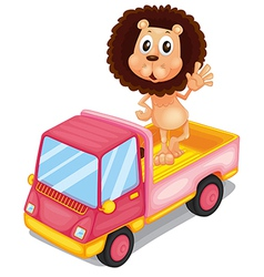 A pink cargo truck with a lion waving at the back vector image