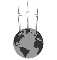 abstract image of wind generators and the planet vector image