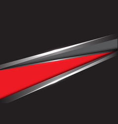 Abstract red grey silver triangle on black design vector