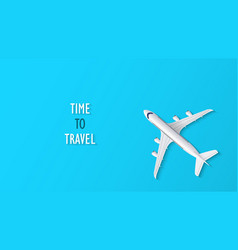 airplane on blue background with time to travel vector image