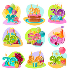 anniversary candle numbers retro set vector image