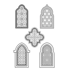 arabic or islamic traditional architecture set of vector image