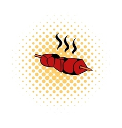 Barbecue Grilled icon comics style vector