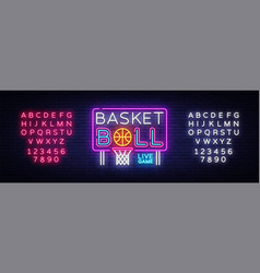basketball neon sign basketball design vector image