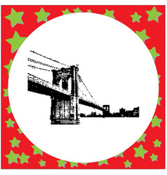 Black 8-bit brooklyn bridge vector
