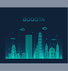 Bogota skyline colombia trendy linear city vector