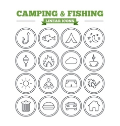Camping and fishing linear icons set Thin outline vector