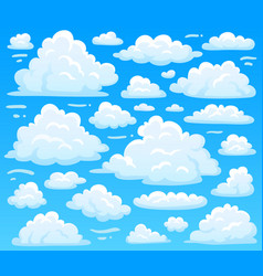 Cartoon fluffy cloud at azure skyscape heavenly vector
