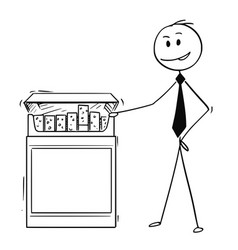 Cartoon of businessman holding big box or pack of vector