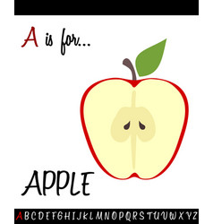 Cartoon of capital letter a with apple for vector