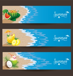 Coconut Pineapple Watermelon Cocktail Banner vector image
