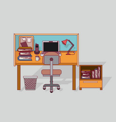 colorful background home office interior with vector image