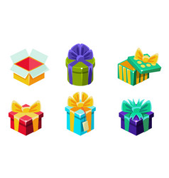 colorful gift boxes set various present boxes vector image
