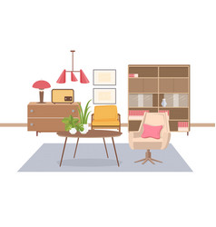 cozy interior of living room furnished with old vector image