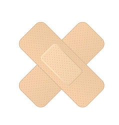 Crossed bandage icon - two crossed adhesive vector