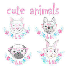 cute french bulldog princess hand drawn graphic vector image