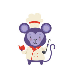 Cute monkey in chef uniform holding book with vector
