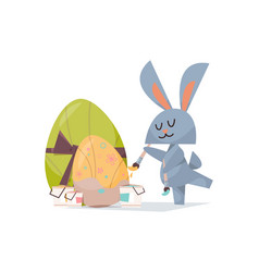 cute rabbit painting eggs happy easter spring vector image