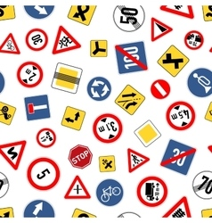 Different road signs isolated on white seamless vector image