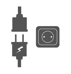 Electric plug and outlet icon set vector