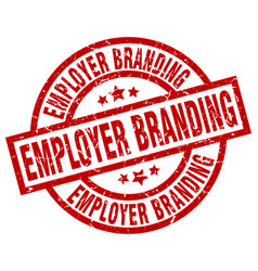 Employer branding round red grunge stamp vector
