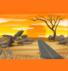 Empty road in desert at sunset vector
