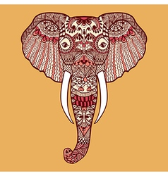 entangle stylized indian elephant hand drawn lace vector image