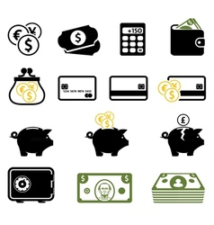 Finance symbols set vector image