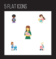 Flat icon mother set perambulator mother vector