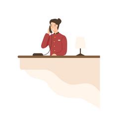 Friendly cartoon woman working on hotel reception vector