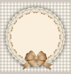 Gift card with lace ribbon silk ribbon place for vector