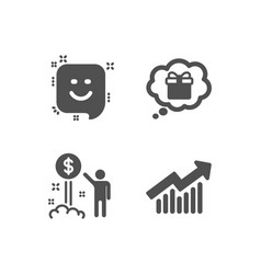Gift dream income money and smile icons demand vector
