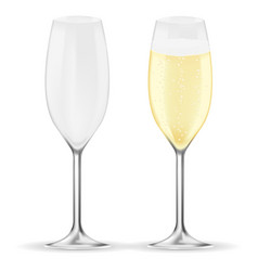 glass of champagne sparkling wine with bubbles vector image