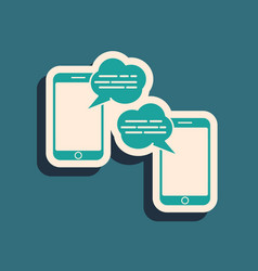 Green new chat messages notification on phone icon vector