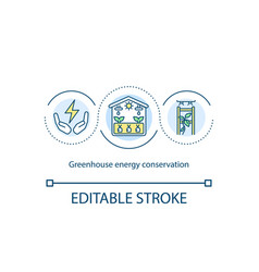 Greenhouse energy conservation concept icon vector